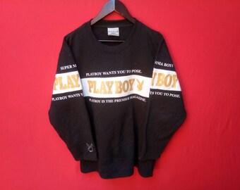 vintage playboy boy sweatshirt big logo large men size