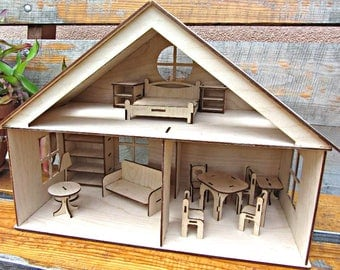 Dollhouse with furniture, Plywood doll house, Dollhouse kit, Natural dollhouse. Wooden dollhouse, Girl doll house, Plywood house