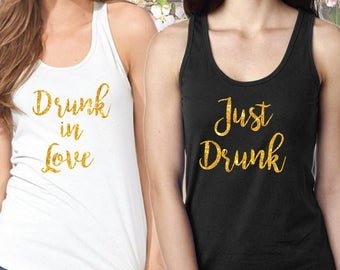 Bachelorette Tanks - Drunk in Love - Gold Glitter Print