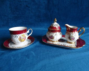 Bavaria porcelain cup and saucer and sugar and cream set
