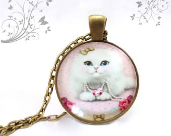 Necklace Persian Cat, animal necklace, jewelry, kitten, cat, cat, cat, cat Medallion pendant jewelry