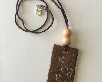 Initial necklace, boho necklace, polymer clay necklace, boho jewelry, initial jewelry, clay jewelry, brown jewelry, wooden jewelry,