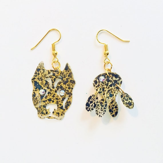 Dog lovers earrings - Dogs drops earrings - Trending dogs jewelry - Dog jewelry - Rockabilly Jewelry - Novelty earrings - Animal print