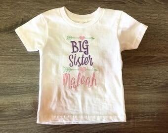 Big Sister-Brother // Custom Embroidered T-shirt