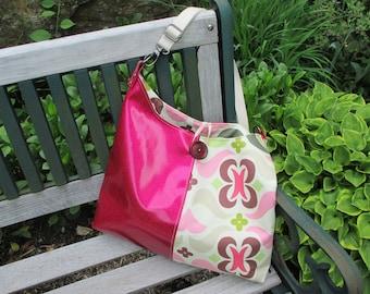 Amy Butler Crossbody Handbag Tote, Amy Butler Bag, Glitter Vinyl Canvas Handbag by DarkHorsesDesigns