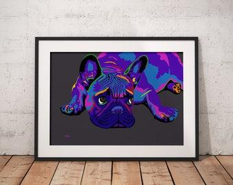 French bulldog gift, french bulldog, french bulldog print, french bulldog art, pop art print, frenchie art, dog wall art, birthday gift, dog