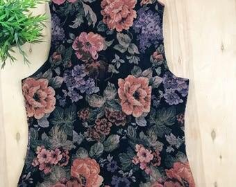 Vintage floral print zip up vest