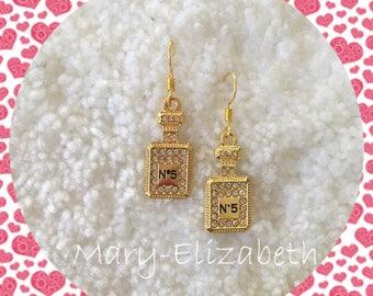 Chanel perfume bottle earrings, gold drop earrings Gold drop earrings, perfume bottle earrings, bridal drop earrings, dangle and drop earr