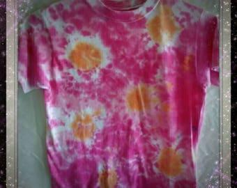 Girls size 10-12 M/M/M,  tie dyed T-shirt. 100% cotton. Sunburst of colors.