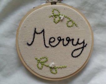 Embroidery Hoop- Merry Mistletoe- Christmas