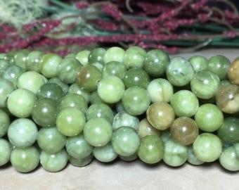 8mm Full Strand Genuine Green Jade (NOT DYED) Gemstone Round 8mm Loose Beads 15 inch Full Strand, Green Jade, Jade Beads