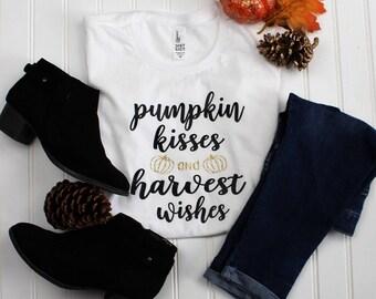 Pumpkin Kisses and Harvest Wishes Shirt, Kids Fall Shirt, Kids Halloween Shirt, Girls Halloween Shirt, Girls Fall Shirt, Pumpkin Patch Shirt
