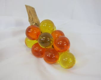 Vintage Yellow & Orange Lucite Glass Grape Cluster on Driftwood Mid Century #10