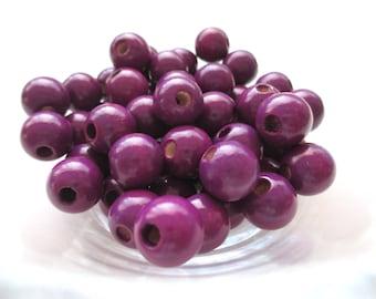 25 pacifier 12mm - plum wooden beads