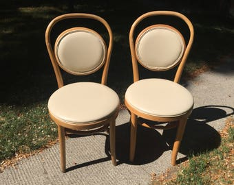 GREEN MONDAY SALE Pair Of Vintage Mid Century Modern Thonet Style Bentwood  Cafe Dining Chairs