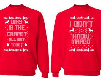 Free Shipping Why is the Carpet All Wet Todd Don't Know Margo Ugly Christmas Sweater Men Women Sweatshirts Red