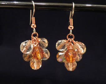 Copper and Glass Cluster Earrings
