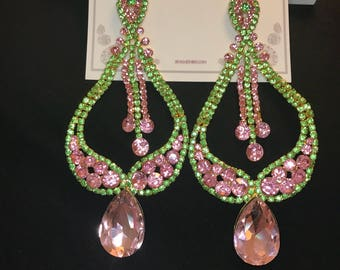 Pink and Lime Green  Crystal  Chandelier Earrings