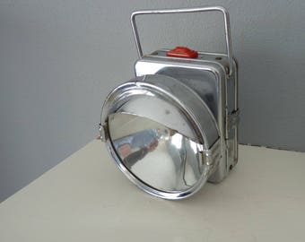 1950's British Crown Colony Battery Flashlight/Lantern, Bicycle light, Vintage Camping, Industrial decor, Battery missing, Hong Kong,  EXC.!