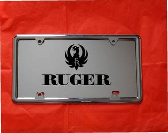RUGER Laser Engraved Mirror Acrylic License Plate, FREE Ship! FREE Protective  Cover, Nuts and Bolts