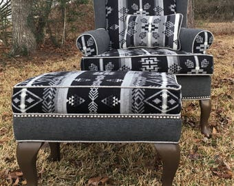 SOLD! Custom Upholstered Chair Ottoman- Navajo Pendleton Chair, Aztec, Silver Nailheads, Wingback Southwestern Chair, Upcycled, Bohemian