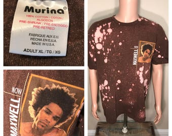 Rare 90s Maxwell band tour shirt // hiphop R&B concert tee // Now Maxwell // acid bleached faded // thrashed tee // made by Murina