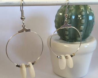 Silver Pearl hoop earrings White Pearl