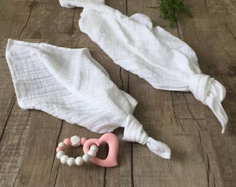 """Snow White  Double Gauze Muslin lovey blanket/security blanket or burpcloth 24""""x24"""" or 17x17"""" personalized lovey / monogrammed lovey"""