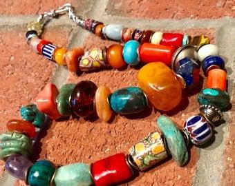 Antique Vintage Venetian MilleFiori & chevron bohemian africa Trade Collectible necklace.