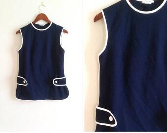vintage sailor top, button up back 1970s sailor top navy tank top blue and white sleeveless tank, women's medium