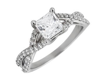 Style #187-E, 14K gold CZ (Cubic Zirconia),  Engagement Ring