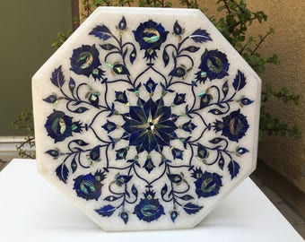 """12"""" Marble Table Top Lapis Marquetry Mosaic Inlay"""