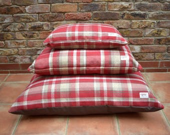 Small Luxury Pillow Dog Bed - Highland Tartan Collection in Regal Red from Designed for Dogs