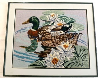 Vintage Needlepoint Picture Mallard Ducks Birds Framed Pond 20x24 Handmade Lily Pond Cottage Lodge Country Chic