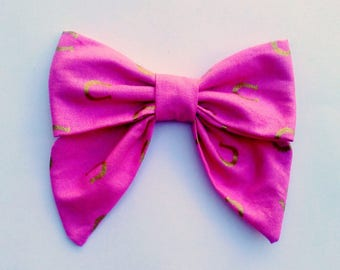 pink and gold mettalic horseshoe sailor bow on alligator clip or headwrap birthday gift christmas present