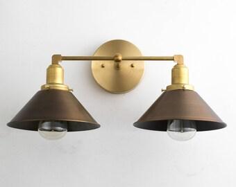 Bathroom Vanity Lights Antique Brass vanity lights brass vanity lighting mid century industrial