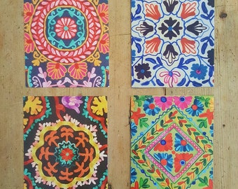Postcard Size Prints - Colourful Indian Patterns for Decorating and Sending