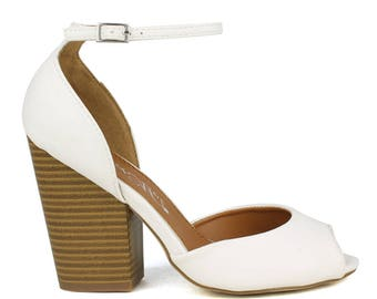 Toi et Moi Risotto-01 D'orsay upper Peep-toe High Heel in White