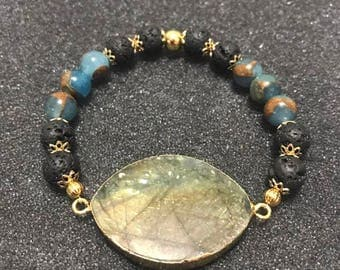 Wrist Ministry Agate Geode Slice Beaded Bracelet