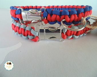 Red/Blue Red/Grey Paracord Dog Collar