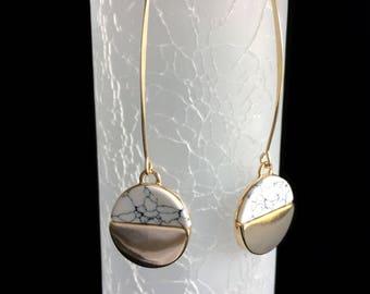White marble earrings, marble earrings, marble jewelry, circle drop earrings, dangle earrings, drop earrings, gold drop earrings.