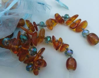 Baltic Amber bracelet/anklet set gifts for women -Antiflammation ,Pain Reducing Properties, hand knotted, blue glass accent beads, ocean