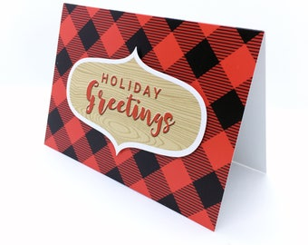 Holiday Greetings Buffalo Plaid Greeting Card
