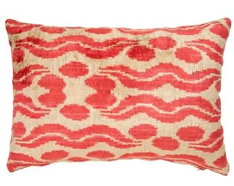 pink ikat pillowpink lumbar pillowsilky velvet pillow decorative rose pink velvet