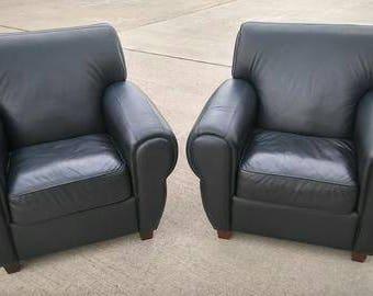 pair of genuine leather club chairs black