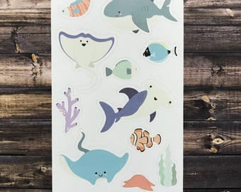 sharks and manta ray stickers, kid's stickers, shark stickers, sea life stickers, shark party favors, stocking stuffers