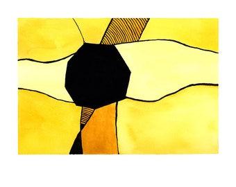 """Abstract Watercolor """"Desert Sun"""" ART PRINT 8x10"""