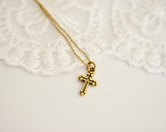 Religious Necklace, Cross Charm, Christian Jewelry, Statement Necklace, Pretty Small Gift , Minimalistic Necklace
