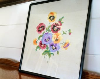 Sweet 1950s Embroidered Framed Picture