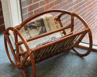 Vintage Rattan Furniture Bamboo Paper Rack Rattan Newspaper Rack Magazine  Rack Wicker Paper Holder Boho Decor